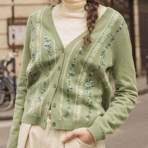 Asian Sizing- Vintage Floral Embroidery Cardigan